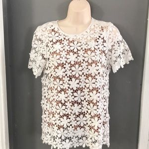 Michael Kors Mix Lace Floral Top